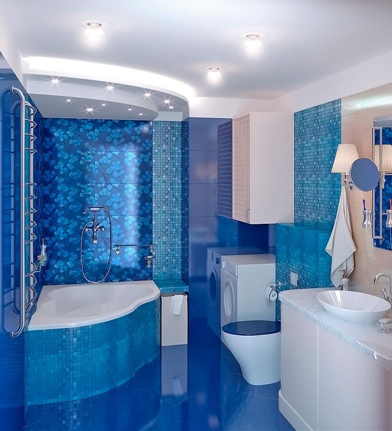 Плитка голубая ванная дизайн