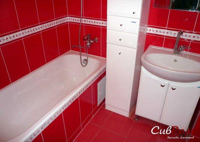 Дизайн красного цвета ванной