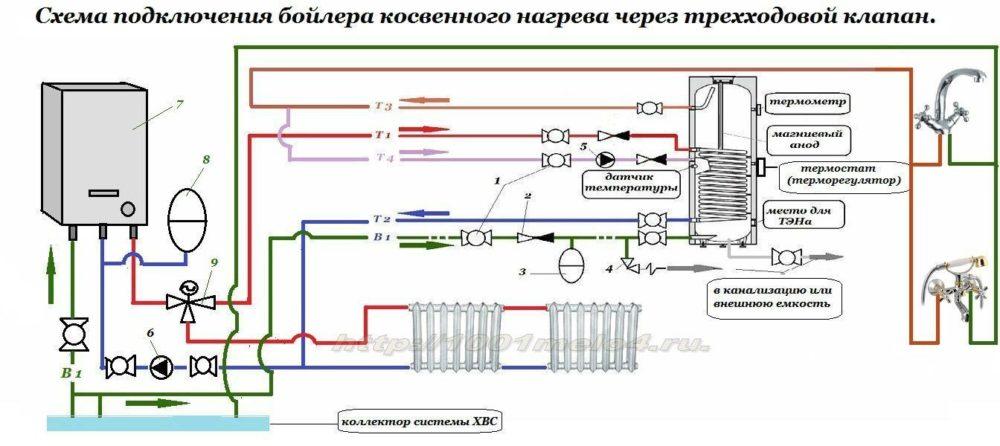 Схема обвязки трехходового клапана фото 646