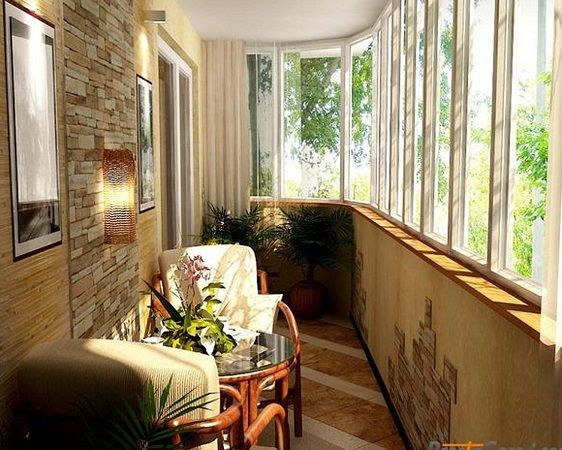 место отдыха на застекленном балконе