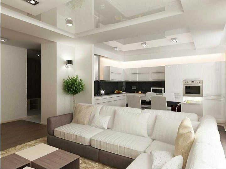 отделение кухни от гостиной диваном