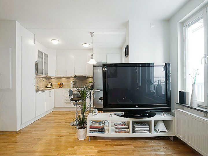 отделение кухни от гостиной телевизором