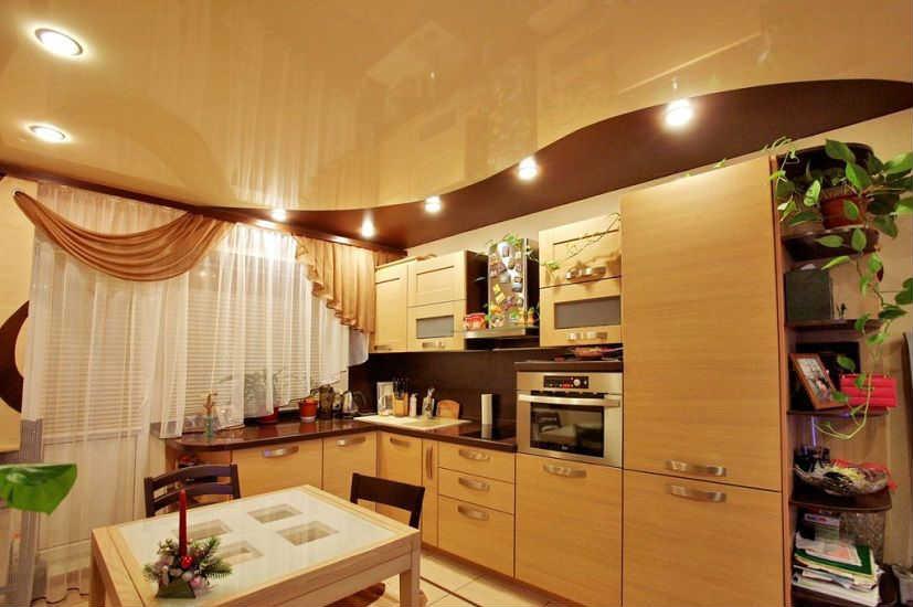 зонирование кухни светом