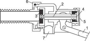 Впускной клапан бачка унитаза с боковой подводкой воды.