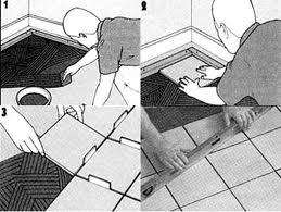 процесс укладки плитки на пол