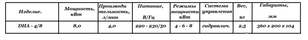 Технические характеристики DHA - 4_8