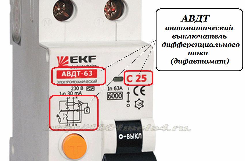 автоматический выключатель диффеенциального тока