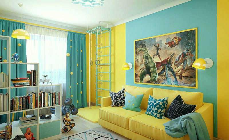 зонирование комнаты цветом