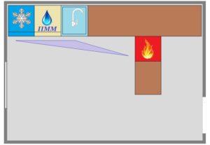 полуостровное расположение оборудования на кухне