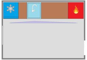 рядное расположение мебели на кухне